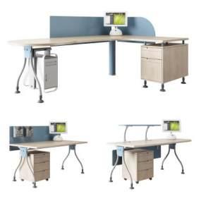 现代办公电脑桌椅组合3D模型【ID:935829171】