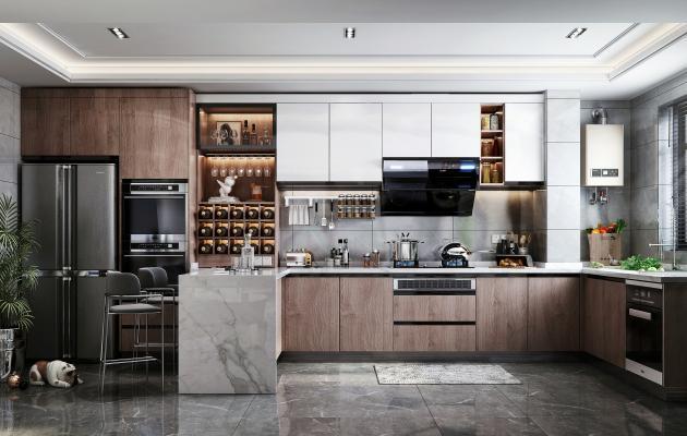 现代风格厨房3D模型【ID:544672344】