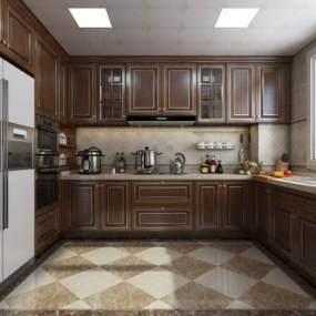 美式厨房3D模型【ID:549336349】