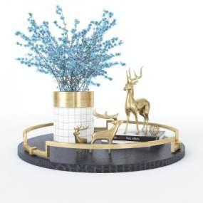 現代金屬麋鹿擺件3D模型【ID:248197532】