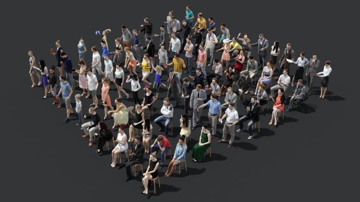 現代歐美人物組合3D模型【ID:349148064】