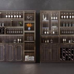 现代中式轻奢酒柜组合3D模型【ID:642536231】