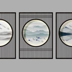 新中式花格隔断背景墙3D模型【ID:335864710】