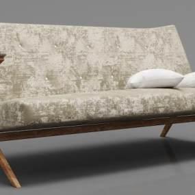 现代实木绒布沙发3D模型【ID:634775567】