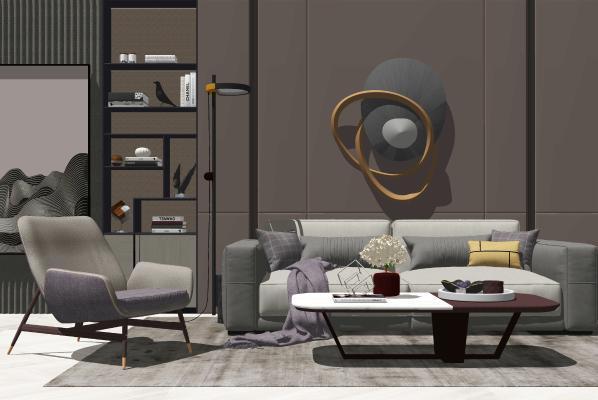 现代沙发茶几组合SU模型【ID:447998116】