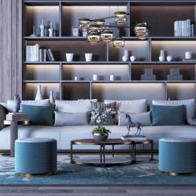 现代轻奢沙发茶几组合3D模型【ID:633807721】