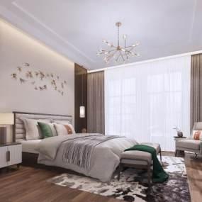 新中式卧室 3D模型【ID:541486290】