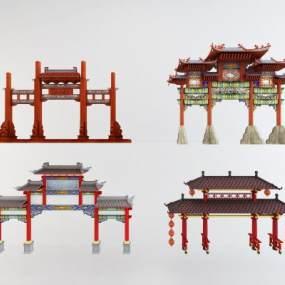 新中式牌坊门头门楼组合3D模型【ID:334850199】