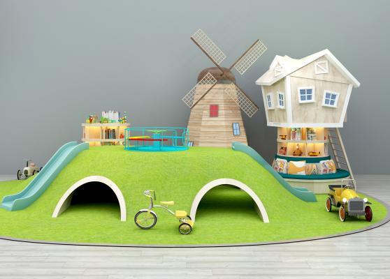 游乐场滑滑梯风车玩具书架书柜卡通玩具房组合3D模型【ID:436166116】