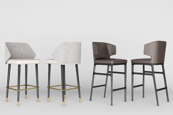 现代吧椅组合3D模型【ID:742041284】