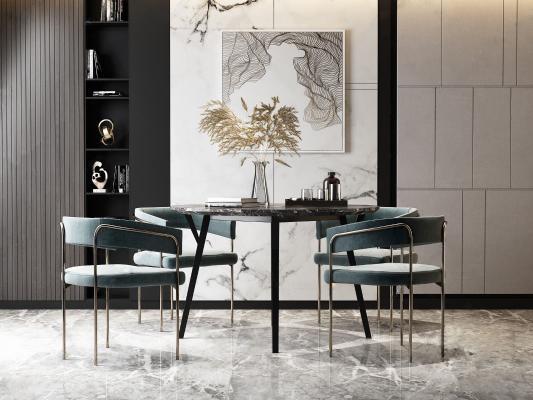 现代轻奢餐桌椅3D模型【ID:742303196】