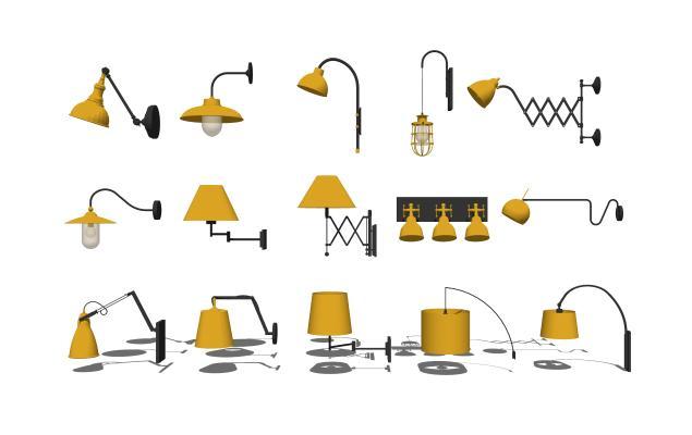 現代工業風壁燈組SU模型【ID:348208901】