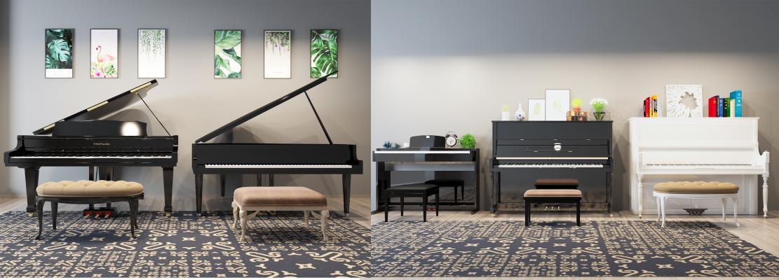 現代鋼琴組合3D模型【ID:335281971】