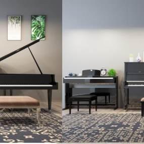 现代钢琴组合3D模型【ID:335281971】