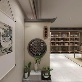 新中式圖書室書房3D模型【ID:943666879】