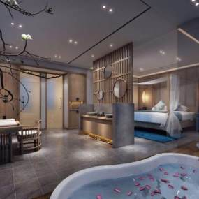 新中式酒店客房空間3D模型【ID:743632355】