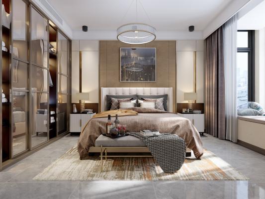現代輕奢臥室3D模型【ID:541365269】