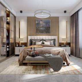 现代轻奢卧室3D模型【ID:541365269】