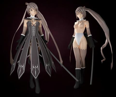 游戲女劍士3D模型【ID:340583002】