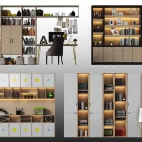 现代书柜3d模型【ID:142401572】