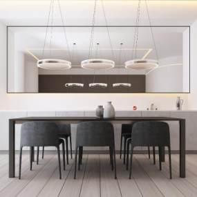 现代餐厅吊灯餐桌椅 3D模型【ID:842381839】