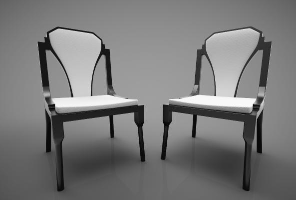新中式風格餐椅3D模型【ID:744272162】