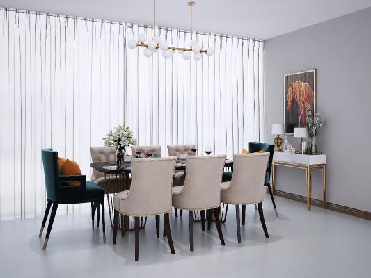 現代餐桌椅3D模型【ID:733966141】