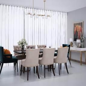 现代餐桌椅3D模型【ID:733966141】