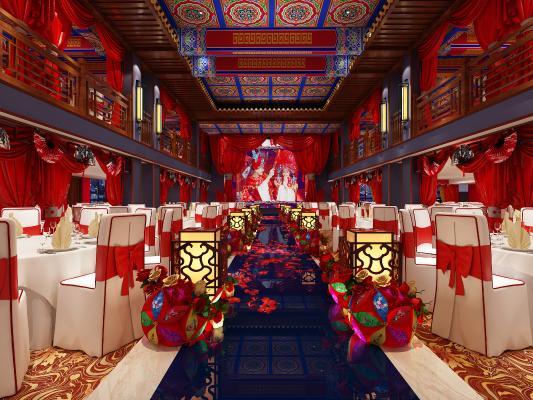 中式婚庆宴会厅3D模型【ID:732962236】