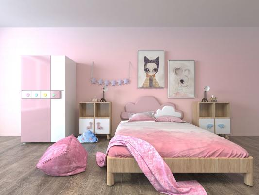 粉红儿童房家具组合3D模型【ID:840693893】