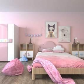 粉红儿童房家具组合 3D模型【ID:840693893】