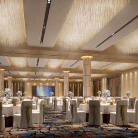 现代酒店宴会厅3D模型【ID:734472294】