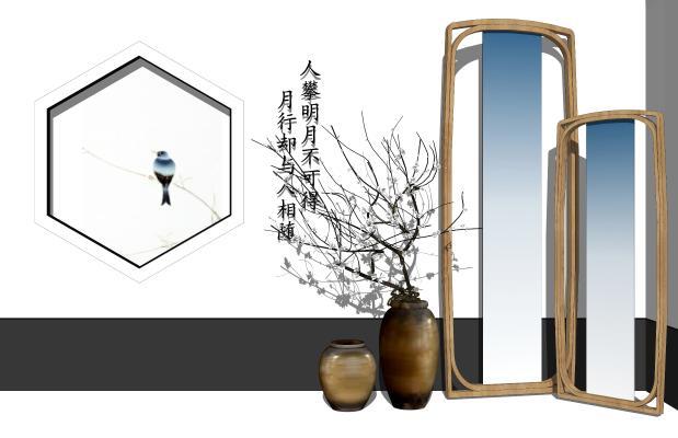 新中式花瓶SU模型【ID:953697975】