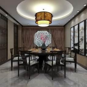 新中式風格餐廳3D模型【ID:652361230】