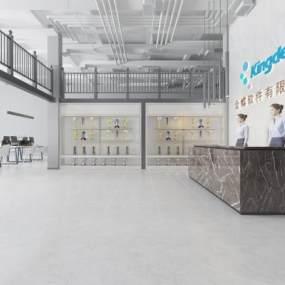 现代公司前台大厅3D模型【ID:946220281】