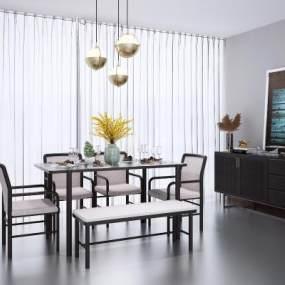 新中式餐桌椅組合3D模型【ID:846674819】