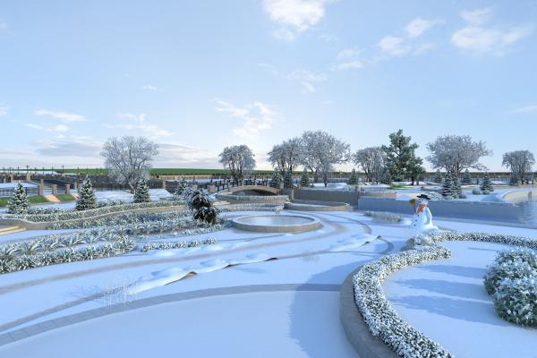 现代建筑雪景3D模型【ID:143674744】