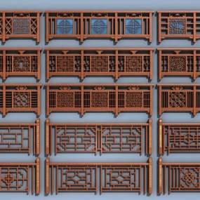 传统中式护栏扶手实木栏杆组合3D模型【ID:335953405】