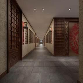 传统中式酒店过道 3D模型【ID:735353453】