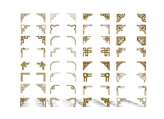 新中式角花線條組合SU模型【ID:448162673】