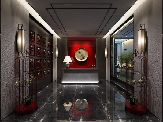 傳統中式風格茶館3D模型【ID:641994670】