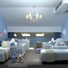 现代儿童房3D模型【ID:533206256】