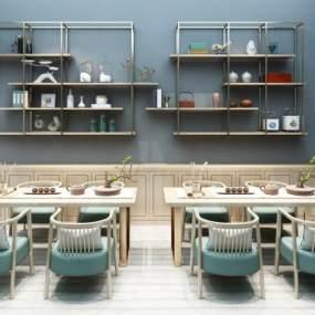 新中式壁挂装饰柜置物柜矮柜茶桌椅组合 3D模型【ID:635834620】