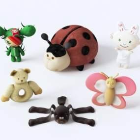 现代卡通动物玩偶布娃娃组合3D模型【ID:353361400】