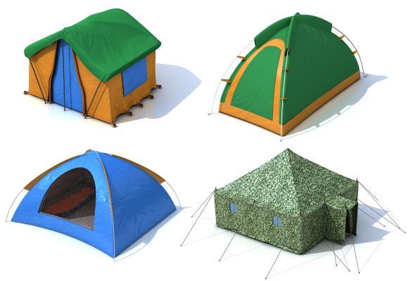 现代户外野营折叠帐篷3D模型【ID:140817997】
