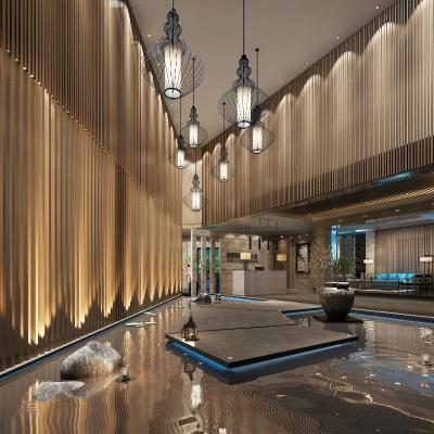 新中式酒店大堂3D模型【ID:751071032】