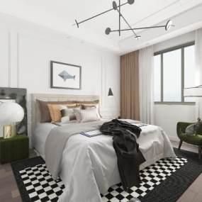 现代卧室3D模型【ID:534752209】