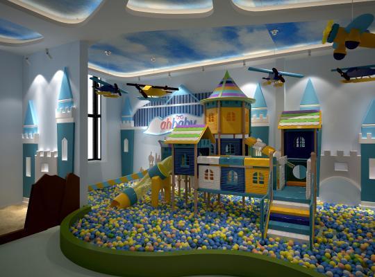 现代幼儿园游乐场海洋球城堡3D模型【ID:930595620】