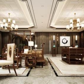 中式会客厅 3D模型【ID:541627434】