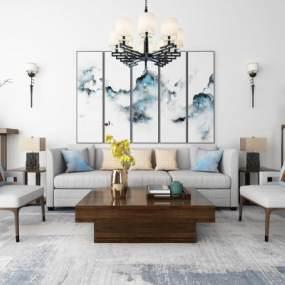 新中式沙发茶几吊灯地毯装饰画组合3D模型【ID:636160782】